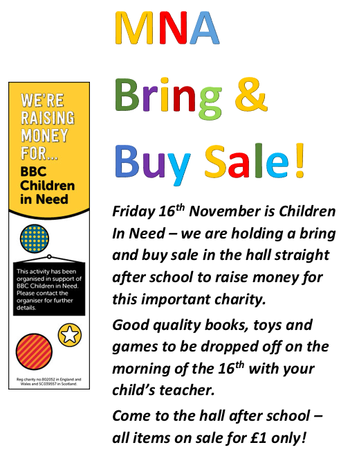 Children in Need - Bring & Buy Sale at MNA - Morley Newlands